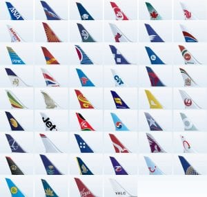 The tail fins decals for worldwide airlines