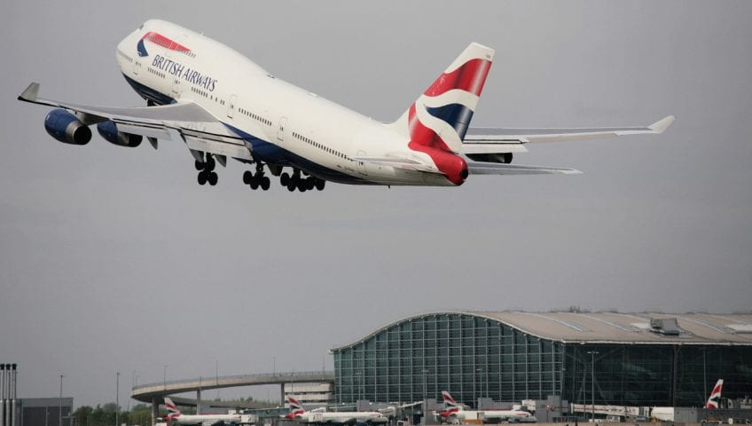 British Airways 747 at London Heathrow Terminal 5