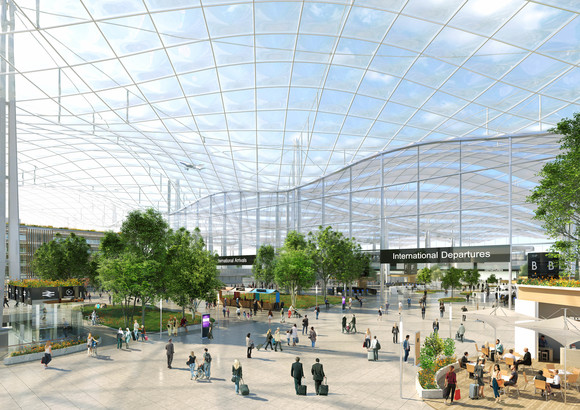 Proposed changes to public areas at Heathrow Terminal 2 to protect passengers from car exhaust