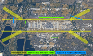 Heathrow Flight Paths and Hotels